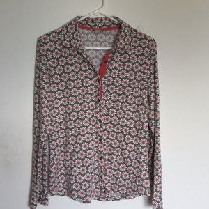 Boden Daisy Print Button Front Top
